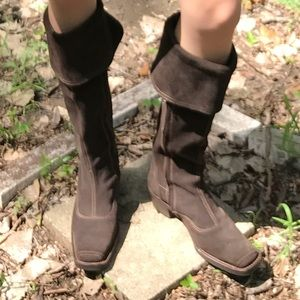 Anthro brown suede boots